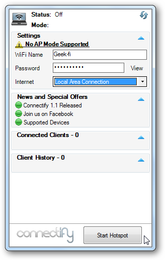 How to create hotspot with laptop windows 7